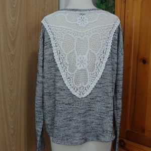 Forever 21 Crochet Back Knit Sweater Large